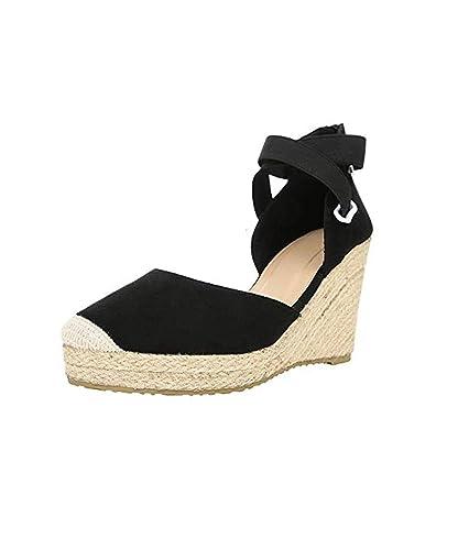 de5aad1a883 MayBest Women Wedges Sandals Espadrilles Shoes Ankle Strap Beach Weave  Sandals