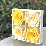 3D Paper Flower Art - Nursery Decor - Yellow and White Girl's Room Decor