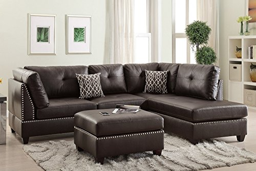 Poundex Bobkona Viola Bonded Leather Left or Right Hand Chaise SECTIONAL Set with Ottoman in Espresso