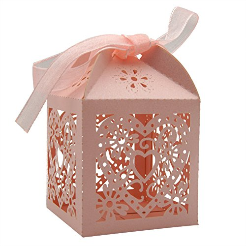 SODIAL(R) 70 Pack Love Heart -Cut Wedding Party Favor Box Candy Bag Chocolate Gift Boxes Bridal Birthday Shower with Ribbons (pink)