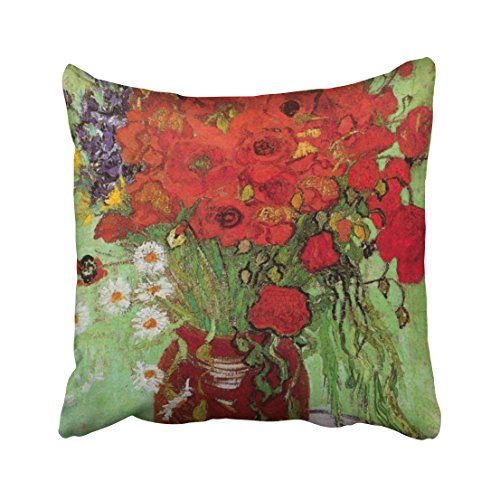 Musesh van gogh red poppies and daisies fine art flowers Cushions Case Throw Pillow Cover For Sofa Home Decorative Pillowslip Gift Ideas Household Pillowcase Zippered Pillow Covers 16X16Inch