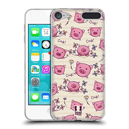 Head Case Designs Pig Cutesy Doodles Soft Gel Case for Apple iPod Touch 6G 6th Gen (Pig Ipod Touch 5 Case)