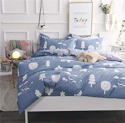 (Abojoy Forest Duvet Cover Sets Tree Dandelion Mushroom Fox Woods 300TC Cotton Luxury Soft Reversible Bedding Set for Boys Girls Kids 3pc - 1 Duvet Cover with Zipper Closure 2 Pillowcases, No Comforter)