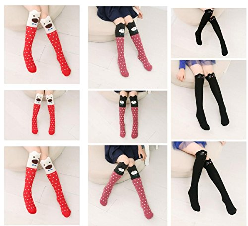 Girl Cartoon Animal Cat Bear Fox Cotton Over Calf Knee High Socks, 15.74-16.53 inch/40-42 cm, Mixed colors by CISMARK (Image #5)