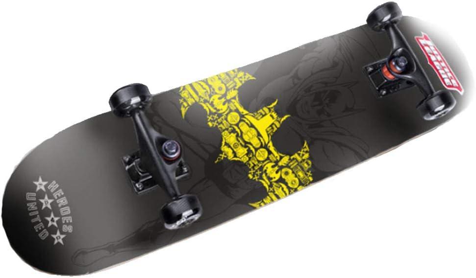スケートボードツール 4輪スケートボード スクーター 子供初心者 青少年ロングボード二重湾曲4輪スケートボード 広幅大輪 ギフト スポーツ最高 屋内アウトドアスポーツ/ミュート着用 (Color : 黒, Size : 80x20cm) 黒 80x20cm