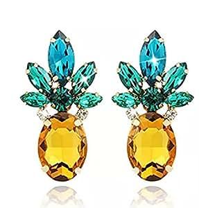 Sparkling Yellow Emerald Crystal Vintage Trendy Fruit Pineapple Earrings Stud Jewelry For Women Girls