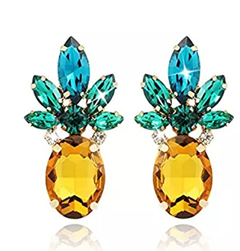 Sparkling Yellow Emerald Crystal Vintage Trendy Fruit Pineapple Earrings Stud Necklace Jewelry...