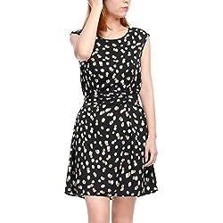 Allegra K Women Dots Sleeveless Belted Above Knee A Line Dress XS Black
