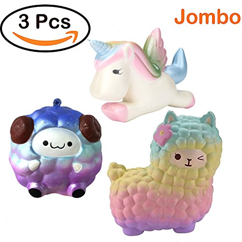 Joykith Jumbo Slow Rising Squishies Kawaii Unicorn Cute Alpaca Soft Sheep Squishies Cream Scented Toys for Kids and Adults, Pack of 3