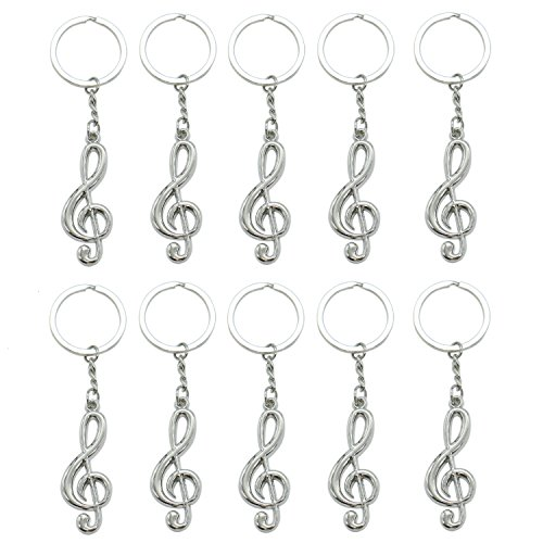 HUELE 10 Pcs Musical Note Key Chain Metal Music Symbol G-Clef Key Ring Keychain - Musical Key