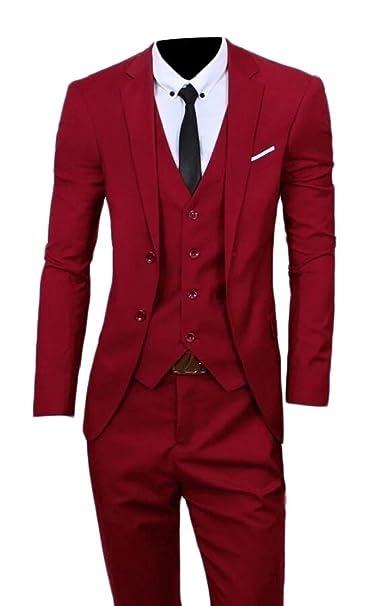 BingSai - Traje - para Hombre Rojo Rojo Vino XX-Small ...