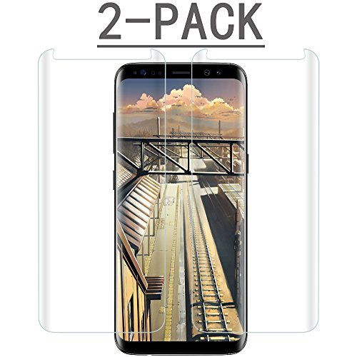[2PACK] Galaxy S8 Clear Screen Protector,[Case Friendly][Anti-Fingerprint] Tempered Glass Screen Protector Compatible with Samsung Galaxy S8