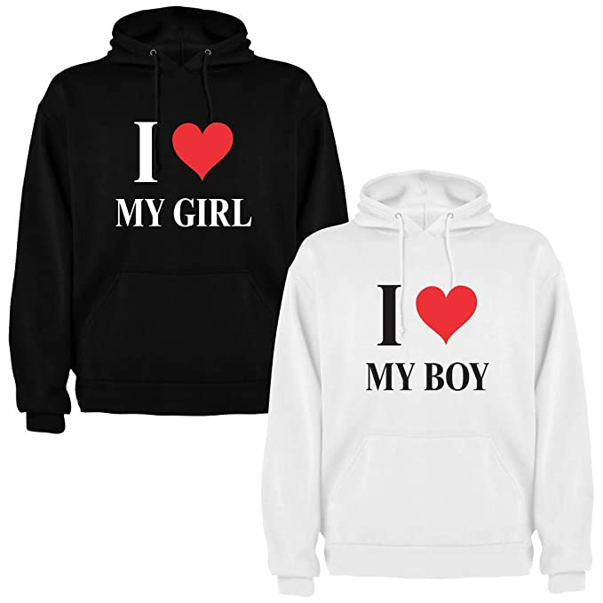 Pack de 2 Sudaderas para Parejas I Love My Boy y I Love My Girl (