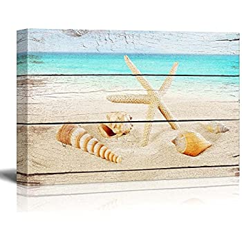 "wall26 Canvas Prints Wall Art - Starfish and Seashells on The Beach with Vintage Wood Background - 12"" x 18"""