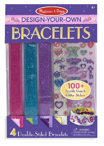 Craft Jewelry Art (Melissa & Doug Design-Your-Own Bracelets With 100+ Sparkle Gem and Glitter Stickers)