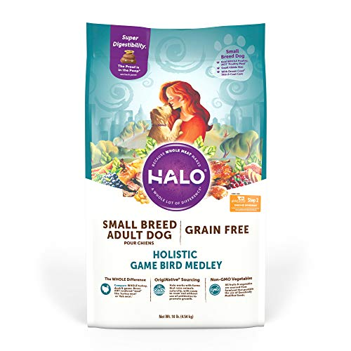 Halo Grain Free Natural Dry Dog Food, Small Breed Game Bird Medley, 10-Pound Bag