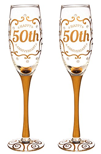 50th Anniversary Barware Set - Cypress Home 50th Anniversary Champagne Flutes, 8 ounces, Set of 2
