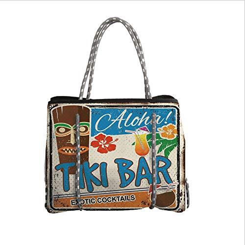(iPrint Neoprene Multipurpose Beach Bag Tote Bags,Tiki Bar Decor,Rusty Vintage Sign Aloha Exotic Cocktails Coconut Drink Antique Nostalgic,Multicolor,Women Casual Handbag Tote Bags)
