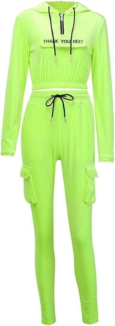traje de ch/ándal para correr Mujer de manga larga con capucha y cord/ón en la cintura de dos piezas