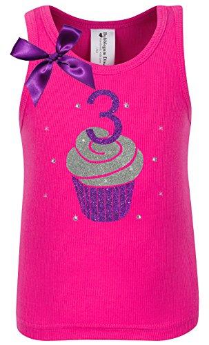 Bubblegum Divas Little Girls 3rd Birthday Purple Hot Pink Cupcake Shirt 3