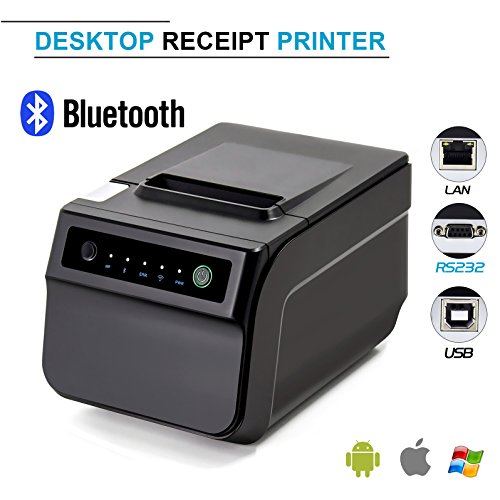 Bluetooth Thermal Receipt Printer,Symcode Ethernet/LAN, Serial Port – Auto Cutter – Cash Drawer Port – Paper Width 3 1/8″ (80mm) – Works on Windows XP/Vista/7/8/8.1/10 Uses