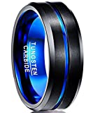 Nuncad Blue Tungsten Wedding Bands Brushed Finish Polished Beveled Edge Tungsten Rings Size 10