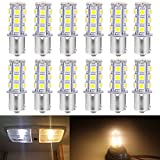 Anxingo 12-Pack 1156 BA15S 1156NA 7506 1141 1003 1073 Warm White 3000k LED Light 12V-DC, 5050 18 SMD Car Replacement For Interior RV Camper Turn Signal Light Lamps Tail BackUp Bulbs
