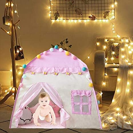 succeedw Castillo De La Princesa Tienda De Campaña,Tienda de Juegos Princess Castle para niñas Tiendas de Juegos para niños para niños Play House Juegos de Interior y Exterior (51x39x12in)