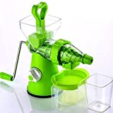 Kitchen BazaarTM Elite Jumbo Fruit & Vegetable Premium Manual Hand Juicer Mixer Grinder with Steel Handle, Juice Collector & Waste Collector, Green