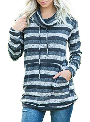 Actloe Women Plus Size Cowl Neck Striped Color Block Long Sleeve Drawstring Pullover Tops Casual Sweatshirt with Pocket Striped-2 XX-Large