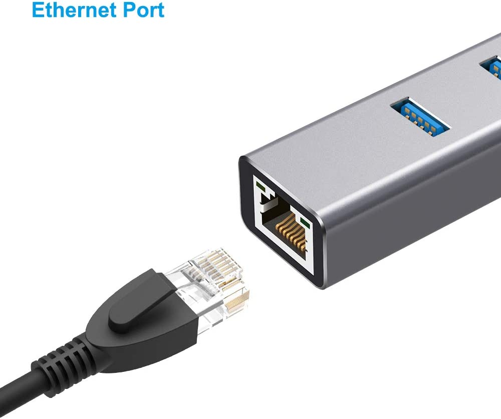 ANWIKE USB 3.0 to RJ45 Ethernet Adapter w//3 Port USB3.0 HUB Gray Aluminum USB A to Gigabit Ethernet Converter Cable with computer