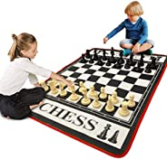 EasyGo Giant 3' X 4' Mat Chess Game – Indoor Outdoor Family Game – Lawn Game –Piece Range from 3
