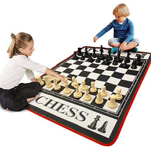 EasyGo Giant 3' X 4' Mat Chess Game - Indoor Outdoor Family Game - Lawn Game -Piece Range from 3-6