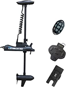 "Black Haswing 12V 55LBS 54""Shaft Bow Mount Electric Trolling Motor Portable,Variable Speed,with Foot Control/Quick Release Bracket for Bass Fishing Boat Freshwater and Saltwater Use,Energy Saving"