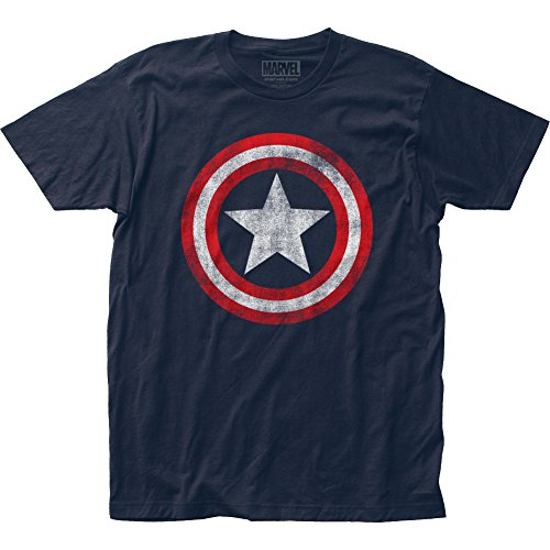 Marvel Captain America   Distressed Shield T Shirt Size M, Distressed Blue