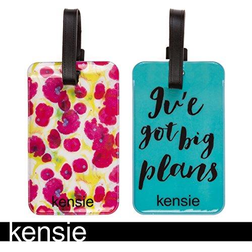 Kensie Buckle Closure Plastic PVC Luggage Tags in Blue/Multi Floral, 2 Pack