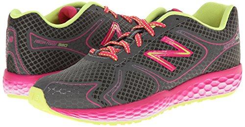 888098070194 - New Balance KJ980 Fresh Foam Running Shoe (Little Kid/Big Kid), Grey/Pink, 4 M US Big Kid carousel main 5
