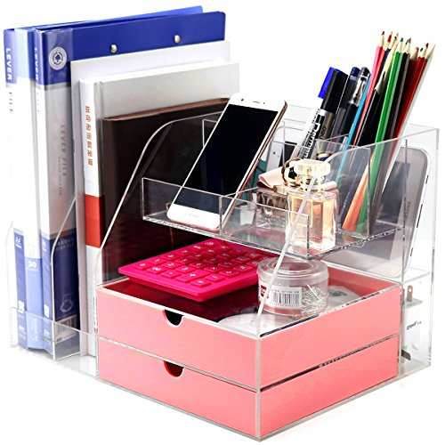 DYCacrlic Clear Office Desk Organizer Free Standing for Women Men Girls,Desk Organization Modern Design Looks Cute and Large Storage Box for All Your Office Supplies,Accessories,Acrylic,Pink Drawers