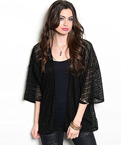 2LUV Women's 3/4 Sleeve Crochet Lace Kimono Cardigan Black OS (TA0729T)