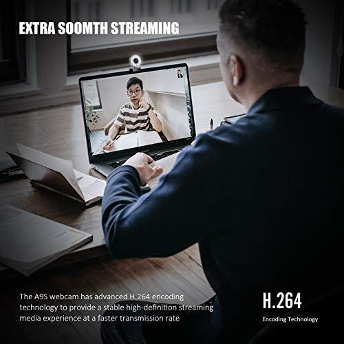 Belnk A9S Webcam mit Ringlicht, HD 1080P Webcam mit Mikrofon und Streaming Webcam, Plug & Play Webkamera, Einstellbare Helligkeit, USB Webcam für PC Desktop Laptop MAC(Webcam+Typ-C-Adapter)