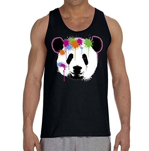 Teddy Bear Face Paint (New Paintball Panda Men's Tank Top Black (M, Black))