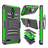 zte zmax swivel clip - Njjex For ZTE Grand X Max 2 case, For ZTE Imperial Max Case, [Ngate] Armor Shock Swivel Locking Holster Belt Clip Kickstand Defender Full Body Carrying Case Cover For ZTE ZMax Pro/ZTE Kirk [Green]