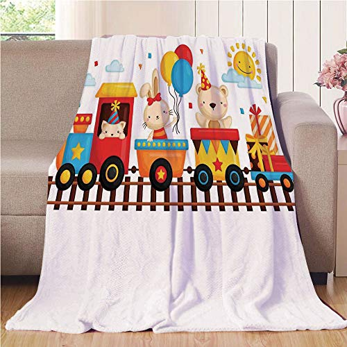 Blanket Comfort Warmth Soft Cozy Air Conditioning Fleece Blanket Perfect for Couch Sofa Or Bed,Kids Decor,Cartoon Animals on a Train Bunny Teddy Bear Gift Boxes Balloons Party Hat Deco Decorative,,5