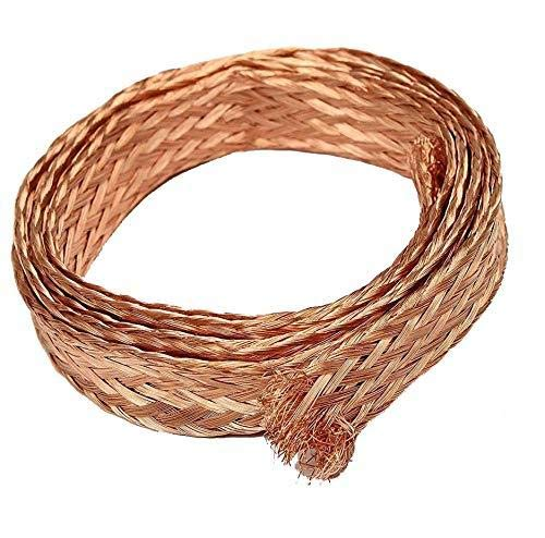 Yodaoke 10ft 6mm Flat Copper Braid Cable Bare Copper Braid Wire Ground Lead