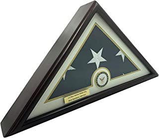 product image for 5x9 Burial/Funeral/Veteran Flag Elegant Display Case, Solid Wood, Cherry Finish, Flat Base (5x9, Navy)
