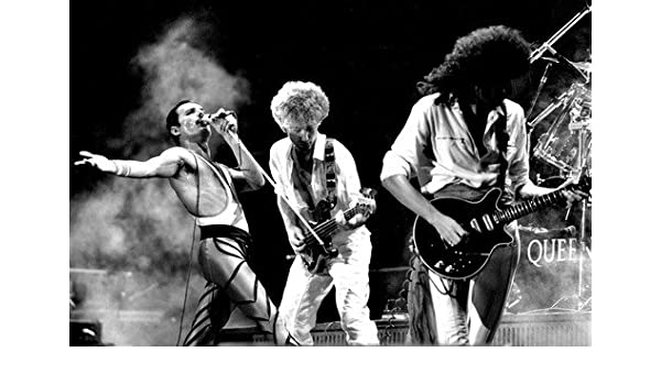 Freddie Mercury At Live Black White Art Post Print 24/'/'x36/'/'