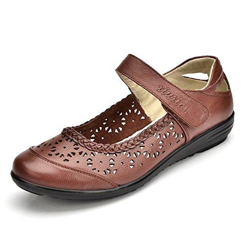 Zapatos de mamá/Zapatos de Asakuchi Velcro/ hueco de los zapatos de las mujeres de talla grande D