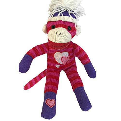 Sock Monkey Plush - 12 Inch Valentines Day Sock Monkey - Hearts Sock Monkey - Classic Purple Pink Red with Tossle Hat - Perfect for Valentines Day Gift