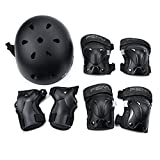 WEANAS Kids Youth Adjustable Sports Protective Gear Set, Safety Pad Safeguard (Helmet Knee Elbow Wrist Pads) (Black, XXS)