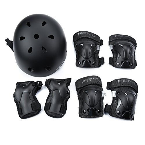 Weanas Kids Youth Adjustable Sports Protective Gear Set, Safety Pad Safeguard (Helmet Knee Elbow Wrist Pads) (Black, M)